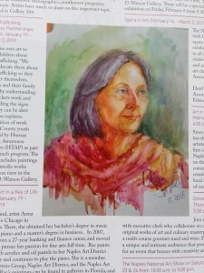 "MY watercolor painting ""Heidi"" in ""Life in Naples"" magazine."